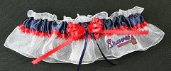 Atlanta Braves Baseball Bridal Garter-Atlanta, Braves, pro sports, baseball, major league baseball, professional, sport, home run, mlb, Wedding, garter, garters, garter belt, reception, sew unique garters, prom, special garters, novelty garters, bride, bridal