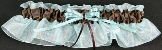 Aqua Blue and Brown Bridal Garter