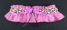 Brown and Pink Leopard Print Bridal Garter