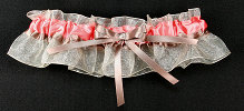 Coral and Taupe Bridal Garter