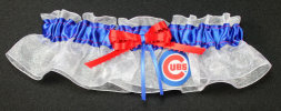 Chicago Cubs Baseball Bridal Garter-Chicago Cubs, pro sports, baseball, major league baseball, professional, sport, home run, mlb, Wedding, garter, garters, garter belt, reception, sew unique garters, prom, special garters, novelty garters, bride, bridal