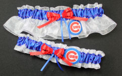 Chicago Cubs Baseball Garter Set-Chicago Cubs, pro sports, baseball, major league baseball, professional, sport, home run, mlb, Wedding, garter, garters, garter belt, reception, sew unique garters, prom, special garters, novelty garters, bride, bridal
