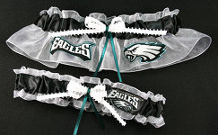 Philadelphia Eagles Football Garter Set-philadelphia, eagles, Donovan McNabb, pro sports, sport, NFL, national football league, professional, madden, football, Wedding, garter, garters, garter belt, reception, sew unique garters, prom, special garters, novelty garters, bride, bridal