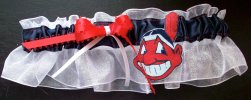 Cleveland Indians Baseball Bridal Garter-Cleveland, Indians, Tribe, Chief Wahoo, pro sports, baseball, major league baseball, professional, sport, home run, mlb, Wedding, garter, garters, garter belt, reception, sew unique garters, prom, special garters, novelty garters, bride, bridal