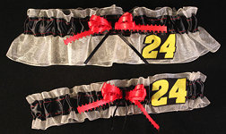 Jeff Gordon Garter Set-jeff gordon, nascar, Wedding, garter, garters, garter belt, reception, sew unique garters, prom, special garters, novelty garters, bride, bridal
