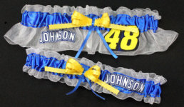 Jimmie Johnson Garter Set-Jimmy Johnson, Jimmie, NASCAR, Car, race, racing, Wedding, garter, garters, garter belt, reception, sew unique garters, prom, special garters, novelty garters, bride, bridal