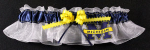 University of Michigan  Wolverines Applique Bridal Keepsake Garter