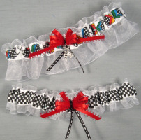 NASCAR Racing Flags Garter Set-NASCAR, Racing Flags, NASCAR, Car, race, racing, Wedding, garter, garters, garter belt, reception, sew unique garters, prom, special garters, novelty garters, bride, bridal