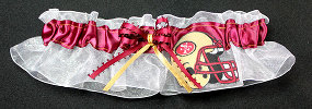 San Francisco 49ers Football Bridal Garter-San Francisco, 49ers, pro sports, sport, NFL, national football league, professional, madden, football, Wedding, garter, garters, garter belt, reception, sew unique garters, prom, special garters, novelty garters, bride, bridal
