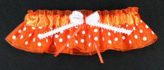 Orange and White Dot Bridal Garter