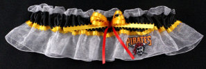 Pittsburgh Pirates Baseball Bridal Garter-Pittsburgh Pirates, pro sports, baseball, major league baseball, professional, sport, home run, mlb, Wedding, garter, garters, garter belt, reception, sew unique garters, prom, special garters, novelty garters, bride, bridal