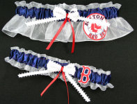 Boston Red Sox Garter Set-Boston, Red Sox, pro sports, baseball, major league baseball, professional, sport, home run, mlb, Wedding, garter, garters, garter belt, reception, sew unique garters, prom, special garters, novelty garters, bride, bridal