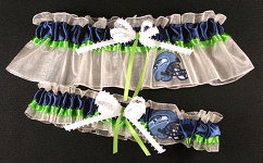 Seattle Seahawks Football Garter Set-Seattle, Seahawks, pro sports, sport, NFL, national football league, professional, madden, football, Wedding, garter, garters, garter belt, reception, sew unique garters, prom, special garters, novelty garters, bride, bridal
