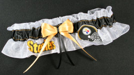 Pittsburgh Steelers Football Bridal Garter-Pittsburgh, Steelers, ben roethlisberger, big ben, pro sports, sport, NFL, national football league, professional, madden, football, Wedding, garter, garters, garter belt, reception, sew unique garters, prom, special garters, novelty garters, bride, bridal