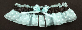 Teal and Brown Dot Bridal Garter