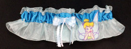 Tinkerbell Bridal Garter-Tinkerbell, Disney, Disney World, Walt Disney, Florida, Disney land, California, Mouse, Wedding, garter, garters, garter belt, reception, sew unique garters, prom, special garters, novelty garters, bride, bridal,